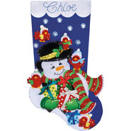 Design Works Felt Applique Kit Snowman and Cardinals Stocking