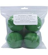 Satin Balls 3inches 4/Pkg-Christmas Green