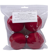 Satin Balls 3inches 4/Pkg-Christmas Red