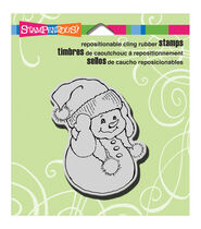 Stampendous Christmas Cling Rubber Stamp 3.5inchesX4inches Sheet-Snowman Warm Ears