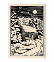 Inkadinkado Christmas Mounted Rubber Stamp 2.75inchesX4inches-Winter Evening Woodcut