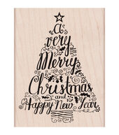 Hero Arts Merry Christmas Tree Mounted Rubber Stamps