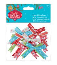 Papermania Folk Christmas 12ct Large Ribbon Bows