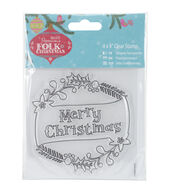 Papermania Folk Christmas Clear Stamps-Merry Christmas