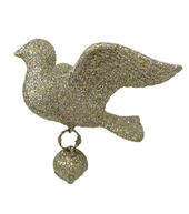 Makers Holiday Christmas Glistening Pines Glitter Dove Ornament-Gold