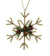 Makers Holiday Christmas Woodland Lodge Yarn  and  Wood Snowflake Ornament