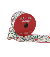 Makers Holiday Christmas Ribbon 2.5x25-Red Bird on Branch