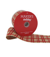 Makers Holiday Christmas Ribbon 2.5x25-Red Line Plaid