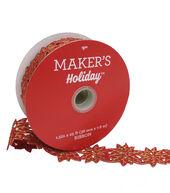 Makers Holiday Christmas Felt Cutout Ribbon 1.5X25-Red Poinsettia