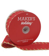 Makers Holiday Christmas Linen Ribbon 1.5X25-Red with Tan Stitch