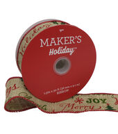 Makers Holiday Christmas Linen Ribbon 1.5x30-Red  and  Green Script