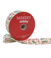 Makers Holiday Christmas Ribbon 1.5x30 -Green, Gold  and  Red Leaves