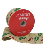 Makers Holiday Christmas Burlap Ribbon 2.5x25-Glitter Holly