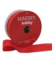 Makers Holiday Christmas Ribbon 1.5x30-Red with Tinsel Edge