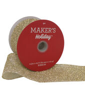 Makers Holiday Christmas Sparkle Mesh Ribbon 2.5x25-Gold