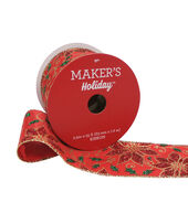 Makers Holiday Christmas Ribbon 2.5x25-Red Poinsettia  and  Swirl