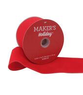 Makers Holiday Christmas Velvet Ribbon 2.5x25-Red