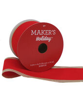Makers Holiday Christmas Velvet Ribbon 2.5x25-Red with Gold Border