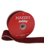 Makers Holiday Christmas Velvet Ribbon 1.5x25-Burgandy with Gold