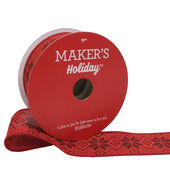 Makers Holiday Christmas Ribbon 1.5x30-Red  and  Black Nordic