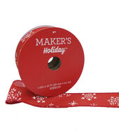 Makers Holiday Christmas Ribbon 1.5x30-White Snowflake on Red