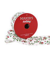 Makers Holiday Christmas Satin Ribbon 2.5x25-Red Berry on White