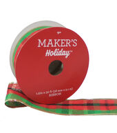 Makers Holiday Christmas Ribbon 1.5x30-Plaid with Gold Edge