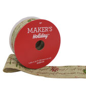 Makers Holiday Christmas Linen Ribbon 1.5x30-Berry  and  Script