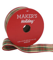 Makers Holiday Christmas Ribbon 1.5x30-Beige, Red, Green Small Plaid