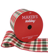Makers Holiday Christmas Ribbon 4x40-Moss, Red  and  Beige Plaid
