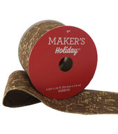 Makers Holiday Christmas Linen Ribbon 2.5x25-Gold Leaves on Brown