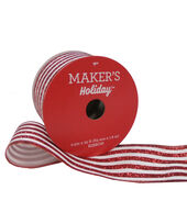 Makers Holiday Christmas Ribbon 2.5x25-Red Glitter Stripe