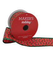 Makers Holiday Christmas Ribbon 2.5x25-Green Dots on Red