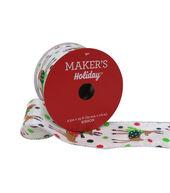 Makers Holiday Christmas Ribbon 2.5x25-Whimsical Deer on White