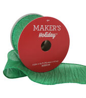 Makers Holiday Christmas Wrinkled Lame Ribbon 2.5x25-Green