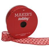 Makers Holiday Christmas Sheer Ribbon 1.5x30-Dots on Red