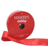 Makers Holiday Christmas Satin Ribbon 1.5x30-Light Red