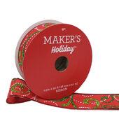 Makers Holiday Christmas Ribbon 1.5x30-Green Glitter Swirls on Red