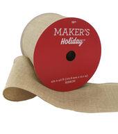 Makers Holiday Christmas Linen Look Ribbon 4x40-Natural