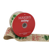 Makers Holiday Burlap Ribbon 2.5x25-Merry Christmas on Beige