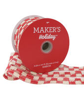 Makers Holiday Christmas Woven Ribbon 2.5x20-Red  and  White Plaid