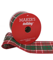 Makers Holiday Christmas Ribbon 2.5x25-Red  and  Green Stitched Plaid
