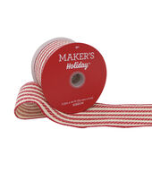 Makers Holiday Christmas Woven Ribbon 2.5X20-Red  and  Beige Stripe
