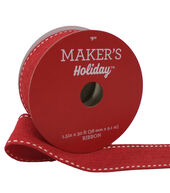 Makers Holiday Christmas Ribbon 1.5X30-Red with White Knit Edge