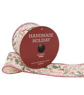 Makers Holiday Handmade Holiday Ribbon 2.5x25-Holly/Merry Christmas