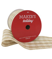 Makers Holiday Christmas Burlap Ribbon 4X40-Beige  and  Ivory Check