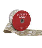 Makers Holiday Christmas Linen Ribbon 2.5x25-White Deer on Beige