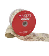 Makers Holiday Christmas Ribbon 2.5x25-Gold Snowflake on Beige