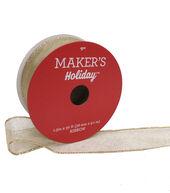 Makers Holiday Christmas Glitter Sheer Ribbon 1.5X30-Gold Edge