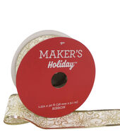 Makers Holiday Christmas Ribbon 1.5X30-Gold Floral on White